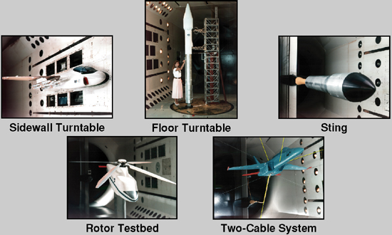 Five model mount systems: sidewall turntable, floor turntable, sting, rotor testbed, two-cable system